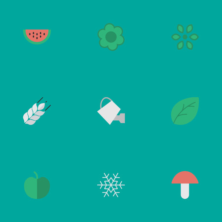 Elements Flake Of Snow, Fruit, Fungus And Other Synonyms Bread, Mushroom And Fungus.  Vector Illustration Set Of Simple Garden Icons.
