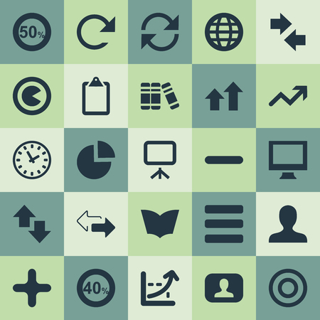 Elements Stand, Reverse, Watch Synonyms Profile, Timer And List.  Vector Illustration Set Of Simple Diagram Icons.