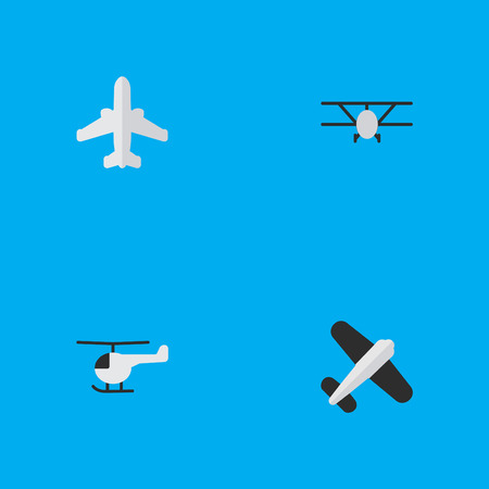 Elements Airplane, Aviation, Copter And Other Synonyms Flying, Airliner And Vehicle.  Vector Illustration Set Of Simple Aircraft Icons. Illustration