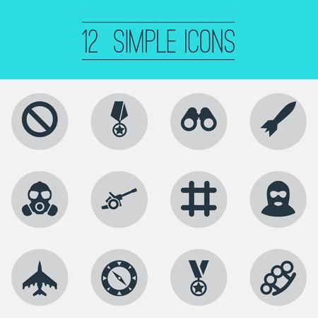Elemente Vision, Gasmaske, Raketen und andere Synonyme navigieren, Dynamit und Nein. Vektor-Illustration-Set von einfachen Kampf Icons. Standard-Bild - 85820850