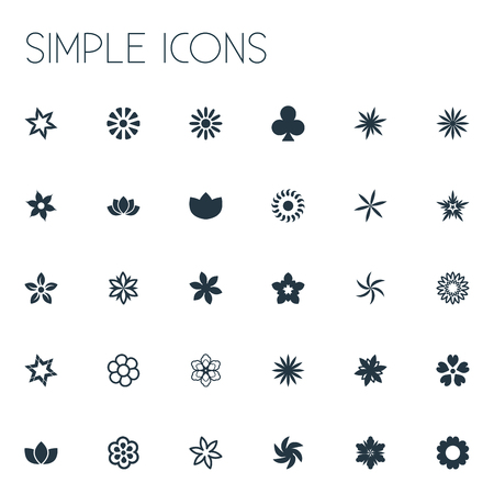 Elements Saffron, Anemone, Decoration And Other Synonyms Chamomile, Delphinium And Daisy.  Vector Illustration Set Of Simple Blossom Icons.