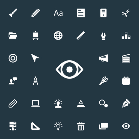 Elements Sheet, Bullhorn, Triangle Ruler And Other Synonyms Flashlight, Creativity And Sketch.  Vector Illustration Set Of Simple Design Icons. Иллюстрация
