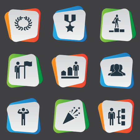 Vector Illustration Set Of Simple Trophy Icons. Elements Group, Sparkle, Reward And Other Synonyms.