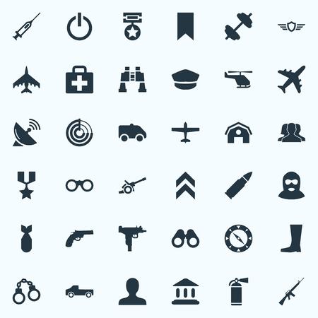 벡터 일러스트 레이 션 간단한 군사 아이콘의 집합입니다. 요소 방패, 영웅 보상, 망원경 및 기타 동의어.