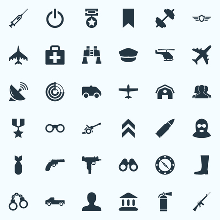Vector Illustration Set Of Simple Military Icons. Elements Shield, Hero Reward, Telescope And Other Synonyms. Illustration
