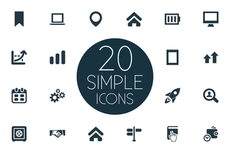 Vector Illustration Set Of Simple Entrepreneurship Icons. Elements Pennant, Selection, House And Other Synonyms. Illusztráció