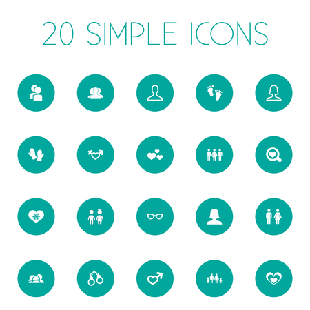 Vector Illustration Set Of Simple Lovers Icons. Elements Double, Mitten, Heart And Other Synonyms Searching, Parent And Spouse.