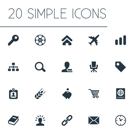 Vector Illustration Set Of Simple Commerce Icons. Elements Work Seat, User, Relationship And Other Synonyms Card, Cart And Label.