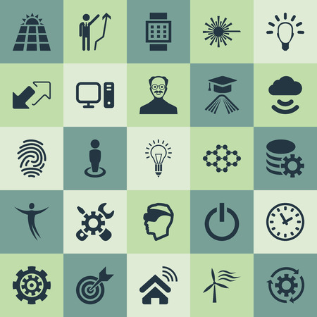 Vector Illustration Set Of Simple Creativity Icons. Elements Remote Storage, Innovation, Freedom And Other Synonyms. Çizim
