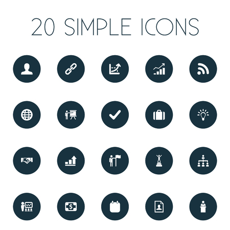 Vector Illustration Set Of Simple Solution Icons. Elements Increase Graph, Demonstration, Training And Other Synonyms Seminar, Cooperation And Holding. Illustration