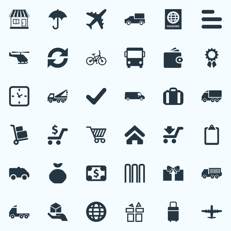 Vector Illustration Set Of Simple Conveyance Icons. Elements Airline, Row, Hand Synonyms Car, Transport And Trolley. 向量圖像