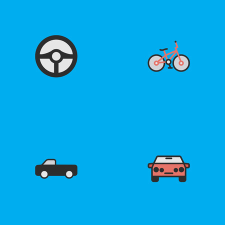 Vector Illustration Set Of Simple Traffic Icons. Elements Steering, Auto, Truck And Other Synonyms Bike, Car And Suv. Illustration