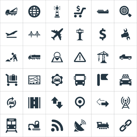 Vector Illustration Set Of Simple Infrastructure Icons. Elements Subway, Aviation, Cab And Other Synonyms. Illustration
