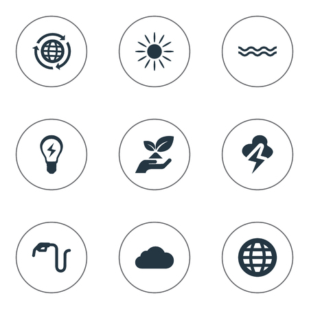 Elements Benzine, Care, Sunglow And Other Synonyms Globe, Protection And Cloud.  Vector Illustration Set Of Simple Energy Icons.