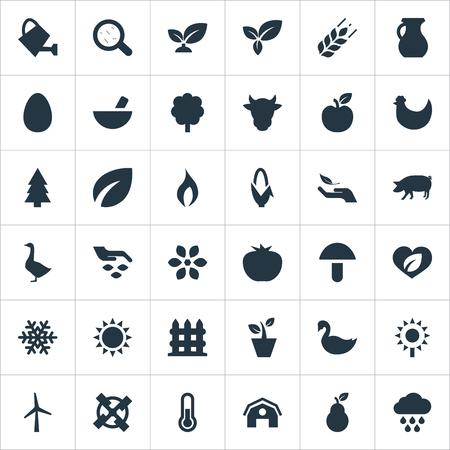 簡単エコ アイコンのベクター イラスト セット。要素の種、植物、スノーフレーク、他類義語障壁貯金箱と白鳥。