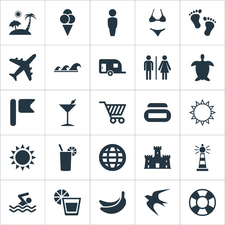 Vector Illustration Set Of Simple Seaside Icons. Elements Summer Fun, Lemonade, Toitlet And Other Synonyms Bar, Fruit And Gentleman.