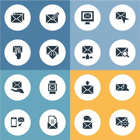 Elementen pagina's, kies, make-up en andere synoniemeninstellingen, post en cursor. Vectorillustratiereeks Eenvoudige Postpictogrammen.