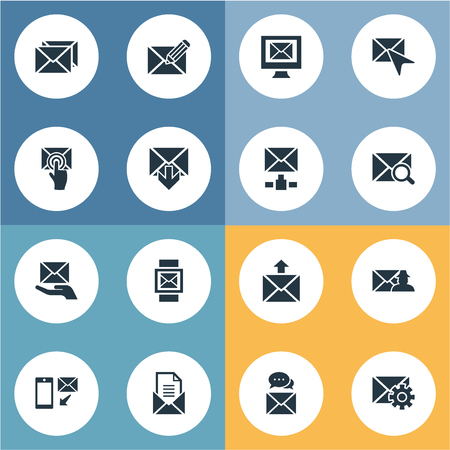 Elements Pages, Choose, Make Up And Other Synonyms Settings, Postal And Cursor.  Vector Illustration Set Of Simple Mail Icons. Illustration