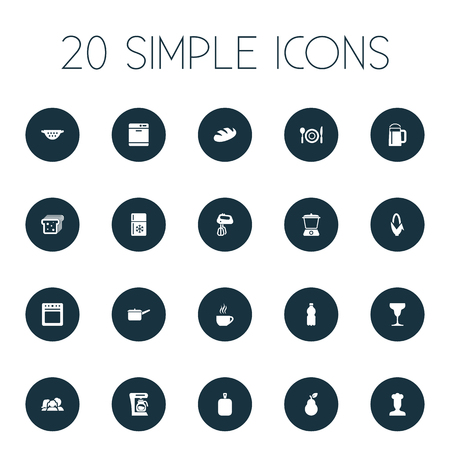 Vector Illustration Set Of Simple Cuisine Icons. Elements Dishware Washer, Bartlett, Juicer And Other Synonyms Maker, Chef And Bakery.