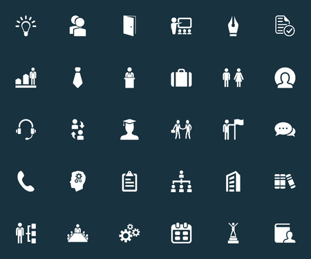 Vector Illustration Set Of Simple Human Icons. Elements Presentation, Cogwheel, Species And Other Synonyms Almanac, Coach And Suit.