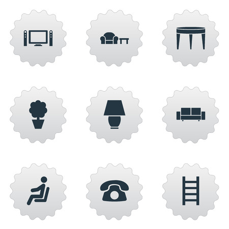 Vector Illustration Set Of Simple Furnishings Icons. Elements Cinema System, Waiting Man, Ring Up And Other Synonyms Illuminator, Lamp And Entertainment.