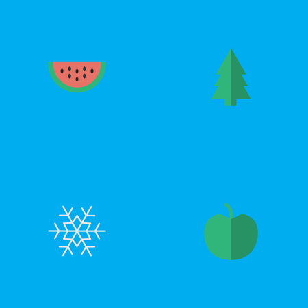 Vector Illustration Set Of Simple Horticulture Icons. Elements Tree, Fruit, Melon And Other Synonyms Berry, Flake And Snow.