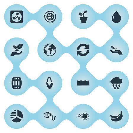 Elementos refrigerador, diagrama, globo y otros sinónimos caída, lluvia y recarga. Ilustración vectorial Conjunto de iconos de energía simple. Foto de archivo - 85820886