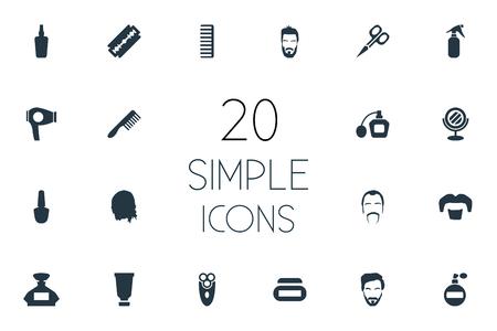 Set van eenvoudige schoonheidsspecialist pictogrammen. Stock Illustratie
