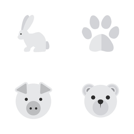 Elements Piggy, Foot, Hare And Other Synonyms Footprint, Hare And Animal.  Vector Illustration Set Of Simple Fauna Icons.