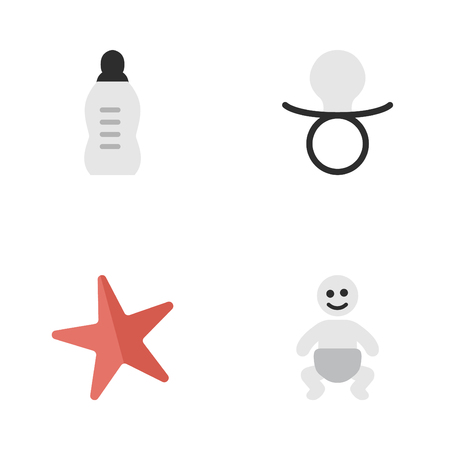 Elements Child, Vial, Toy And Other Synonyms Bottle, Baby And Child.  Vector Illustration Set Of Simple Infant Icons. Illustration