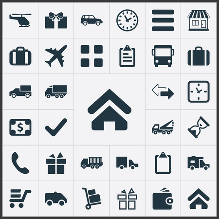 Vector Illustration Set Of Simple Surrender Icons. Elements Complete, Package, Caravan And Other Synonyms Outsource, Caravan And Opposite.