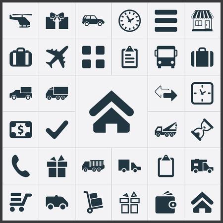 Vectorillustratiereeks Eenvoudige Overgavepictogrammen. Elementen compleet, pakket, caravan en andere synoniemen Outsource, Caravan en tegenovergestelde.