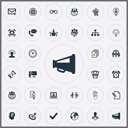 Elements Watch, Hand Cursor, Bubl Synoniemen Hand, Mail en Reclame. Vector illustratie Set van eenvoudige brainstormen pictogrammen.