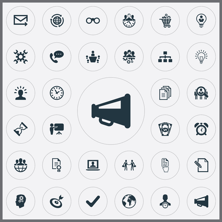 Elements Watch, Hand Cursor, Bubl Synonyms Hand, Mail And Advertising.  Vector Illustration Set Of Simple Brainstorming Icons. Illustration