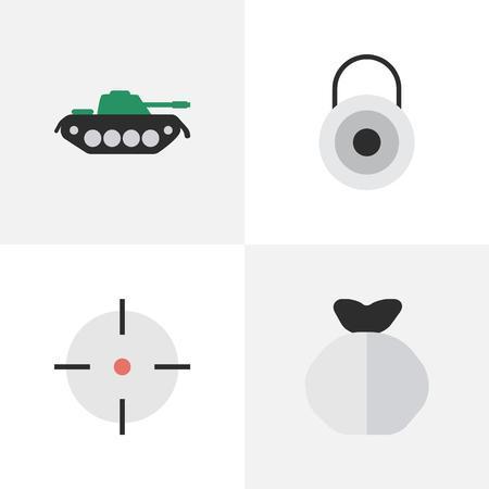 요소 군사, 잠금, Moneybox 및 다른 동의어 군사, 자루 및 가방입니다. 벡터 일러스트 레이 션 간단한 범죄 아이콘의 집합입니다.