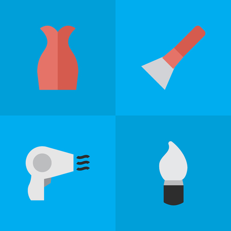 Elements Dress, Brush, Blow-Dryer And Other Synonyms Garment, Drying And Dress.  Vector Illustration Set Of Simple Beauty Icons.