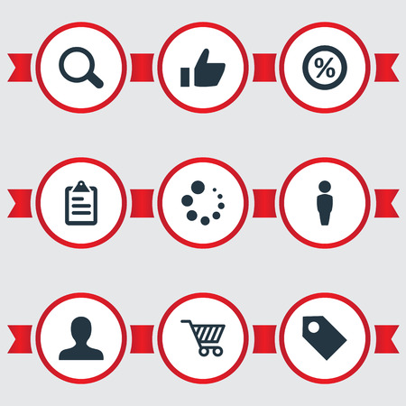 Elements Buffering, Label, Guest And Other Synonyms Percent, Rate And Shopping.  Vector Illustration Set Of Simple Business Icons.