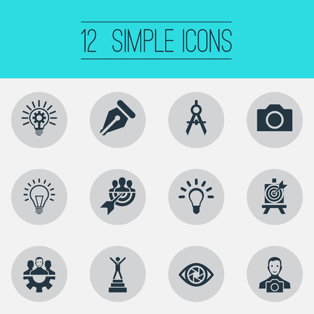 Vector Illustration Set Of Simple Creative Thinking Icons 일러스트