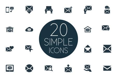 Elementen make-up, bericht, smartphone en ander synoniemenadres, web en ontvanger. Vector illustratie Set van eenvoudige mailing iconen.