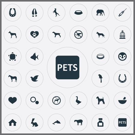 요소 원, 송곳니, 양고기 및 기타 동의어 점, 개 품종 및 번식. 벡터 일러스트 레이 션 간단한 동물원 아이콘의 집합입니다.