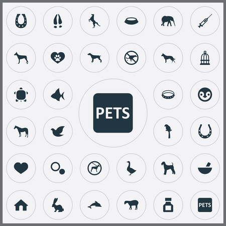 Elements Circle, Canine, Lamb And Other Synonyms Dots, Kennel And Breed.  Vector Illustration Set Of Simple Zoo Icons.