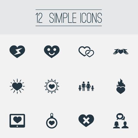 Elementos sonriente amor, hogar, sol y otros sinónimos heridos, amantes y hogar. Ilustración vectorial Conjunto de iconos de boda simple. Foto de archivo - 85820911