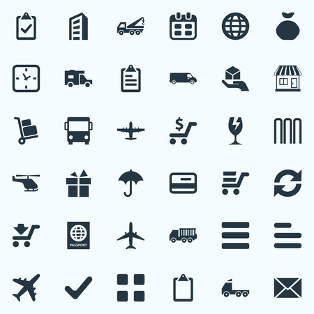 Elements Clipboard, Roster, Express Carriage And Other Synonyms Classify, Rain And Task.  Vector Illustration Set Of Simple Delivery Icons. 일러스트