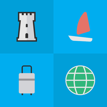 Elements World, Boat, Tower And Other Synonyms Tower, Baggage And Globe.  Vector Illustration Set Of Simple Travel Icons.