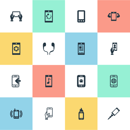 mobile device: Elements Technology, Flame, Inbounding And Other Synonyms Internet, Calls And Camera.  Vector Illustration Set Of Simple  Icons.