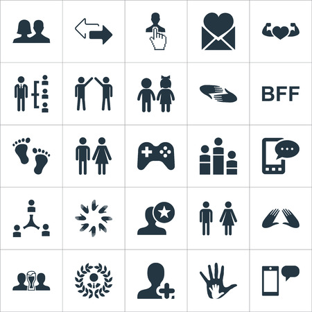 Elements Bodybuilding, Arrows, Care And Other Synonyms Message, Man And Look.  Vector Illustration Set Of Simple Friends Icons.