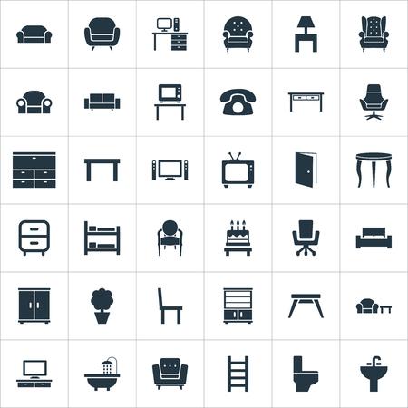 Elementi Bagno, Sistema cinema, Tv e altri sinonimi Pieghevole, Lounge e Cinema. Illustrazione vettoriale Set di icone semplici mobili. Archivio Fotografico - 85820925