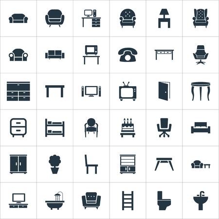 Elements Bathroom, Cinema System, Tv And Other Synonyms Folding, Lounge And Cinema.  Vector Illustration Set Of Simple Furniture Icons. Ilustração