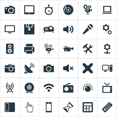 Elements Motor, Sound, Cinematography And Other Synonyms Cd, Pad And Phone.  Vector Illustration Set Of Simple Hardware Icons.
