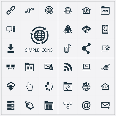 Vector Illustration Set Of Simple Browser Icons. Elements Communication, Group, Worldwide And Other Synonyms Redirect, Social And Mouse. 向量圖像